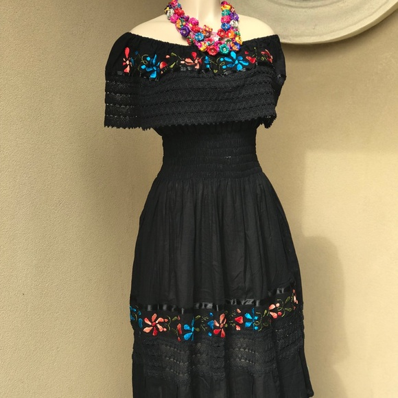 b532abf851051 New Mexican Dress Off Shoulder Embroidered Black